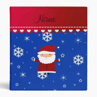 Personalized name santa blue white snowflakes binders
