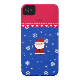 Personalized name santa blue white snowflakes iPhone 4 case