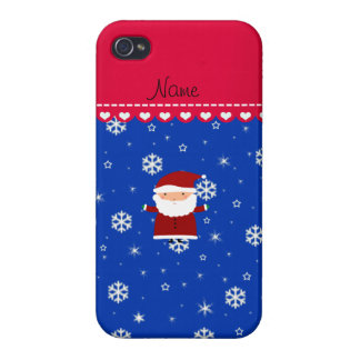 Personalized name santa blue white snowflakes case for iPhone 4