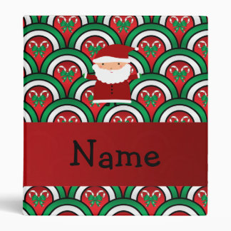 Personalized name santa candy canes bows 3 ring binders