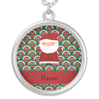 Personalized name santa candy canes bows pendants