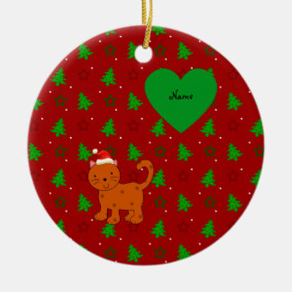 Personalized name santa cat red christmas trees Double-Sided ceramic round christmas ornament