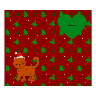Personalized name santa cat red christmas trees poster