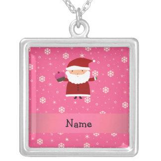 Personalized name santa cupcake pink snowflakes necklace