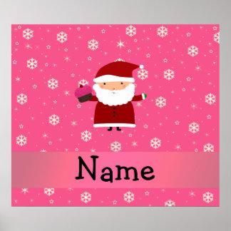 Personalized name santa cupcake pink snowflakes print