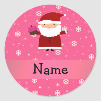 Personalized name santa cupcake pink snowflakes sticker
