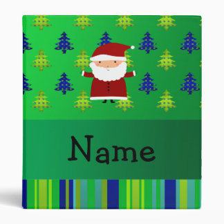 Personalized name santa green blue christmas trees vinyl binders