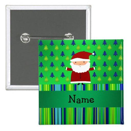 Personalized name santa green blue christmas trees pinback button