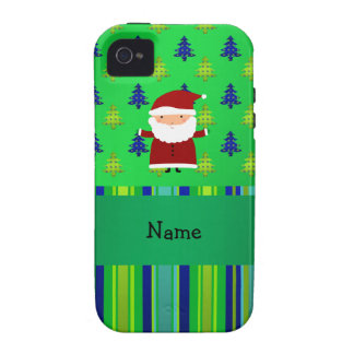 Personalized name santa green blue christmas trees iPhone 4 case