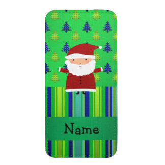 Personalized name santa green blue christmas trees iPhone 5 pouch