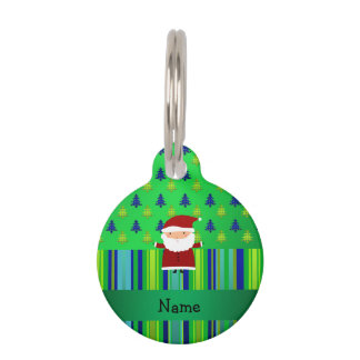 Personalized name santa green blue christmas trees pet nametag