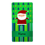 Personalized name santa green blue christmas trees custom shipping label