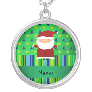 Personalized name santa green blue christmas trees necklaces