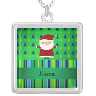 Personalized name santa green blue christmas trees custom necklace