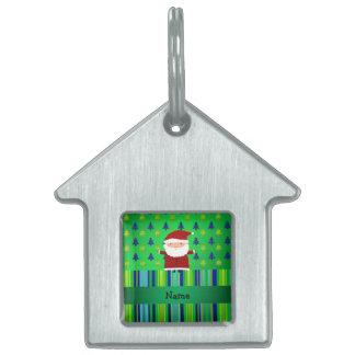 Personalized name santa green blue christmas trees pet tag
