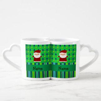Personalized name santa green blue christmas trees couples' coffee mug set