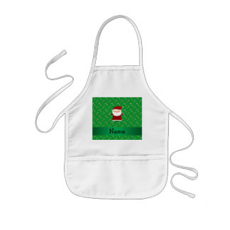 Personalized name santa green candy canes kids' apron