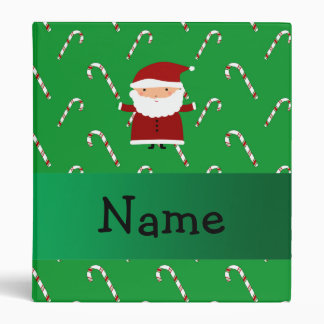 Personalized name santa green candy canes binder