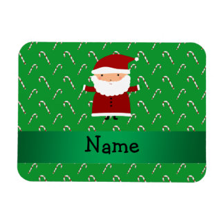 Personalized name santa green candy canes magnet
