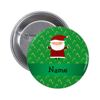 Personalized name santa green candy canes pinback button