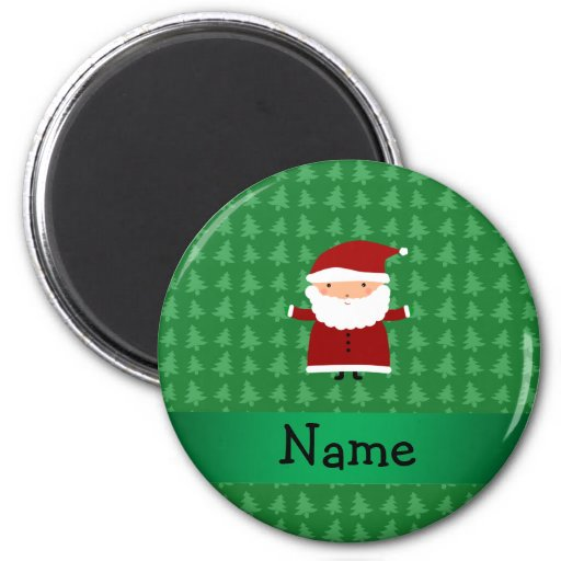 Personalized name santa green christmas trees refrigerator magnet