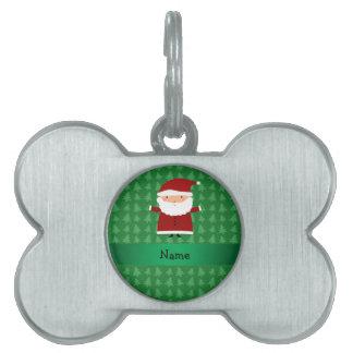 Personalized name santa green christmas trees pet ID tags