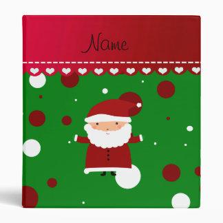 Personalized name santa green red white polka dots binder