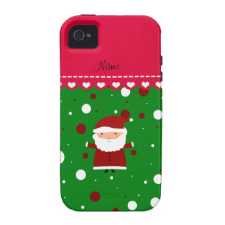 Personalized name santa green red white polka dots Case-Mate iPhone 4 cover