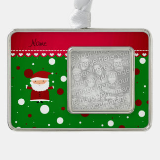 Personalized name santa green red white polka dots silver plated framed ornament
