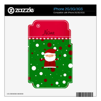 Personalized name santa green red white polka dots iPhone 3GS skin