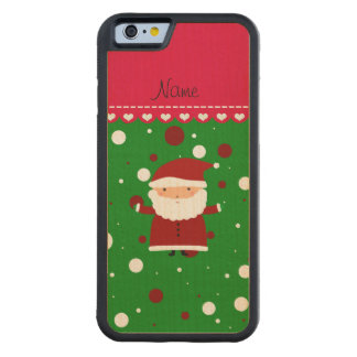 Personalized name santa green red white polka dots carved® maple iPhone 6 bumper case