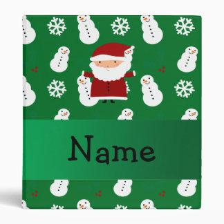 Personalized name santa green snowman vinyl binders