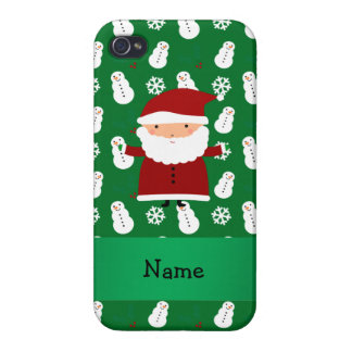 Personalized name santa green snowman cases for iPhone 4