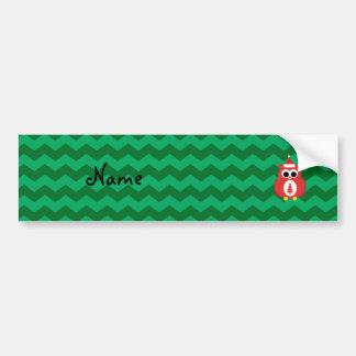 Personalized name santa owl green chevrons bumper stickers