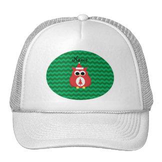 Personalized name santa owl green chevrons hat
