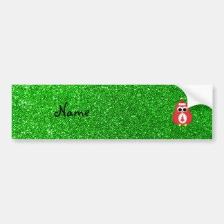 Personalized name santa owl green glitter bumper sticker
