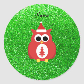 Personalized name santa owl green glitter classic round sticker