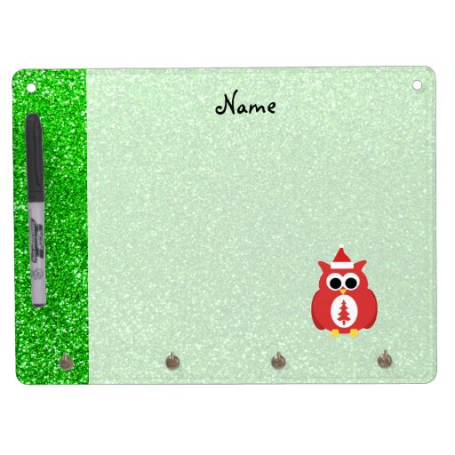 Personalized name santa owl green glitter Dry-Erase whiteboards