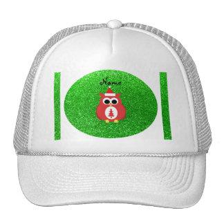 Personalized name santa owl green glitter hats