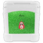 Personalized name santa owl green glitter igloo roller cooler