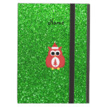 Personalized name santa owl green glitter iPad folio case