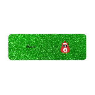 Personalized name santa owl green glitter custom return address labels