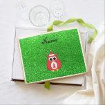 Personalized name santa owl green glitter jumbo cookie