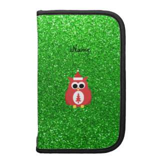 Personalized name santa owl green glitter planner