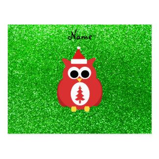 Personalized name santa owl green glitter postcards