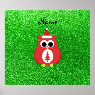 Personalized name santa owl green glitter print