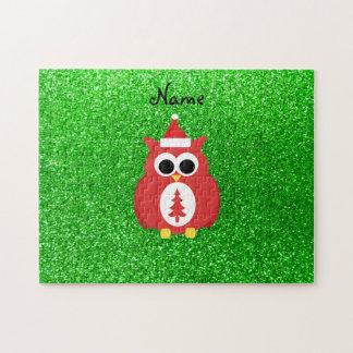 Personalized name santa owl green glitter puzzle