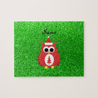 Personalized name santa owl green glitter puzzles