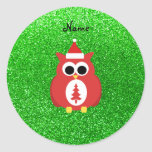 Personalized name santa owl green glitter round sticker