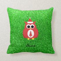 Personalized name santa owl green glitter throw pillow